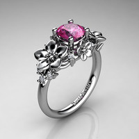 Nature Inspired 14K White Gold 1.0 Ct Pink Sapphire Diamond Leaf Vine Unique Floral Engagement Ring R1026-14KWGDPS