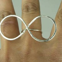 Infinity Symbol Ring XXXL size Sterling Silver by ExCognito