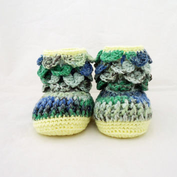 Crochet Baby Booties, Baby  Booties, Ugg Booties, Multicolour Booties, Crocodile Stitch Booties