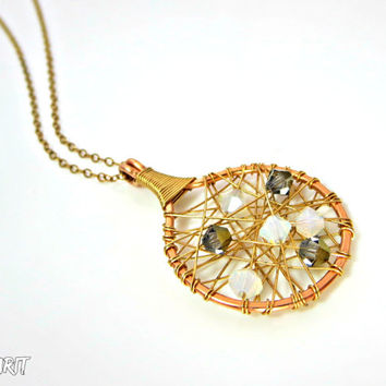 Gold filled necklace, swarovski pendant, wire wrapped pendant, spider web jewelry, 14k gold filled, delicate necklace
