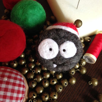 Christmas gift idea. Felted Soap monster. Hat with jingle bell. Natural wool + homemade natural soap. Toy for bathroom or personal friend!