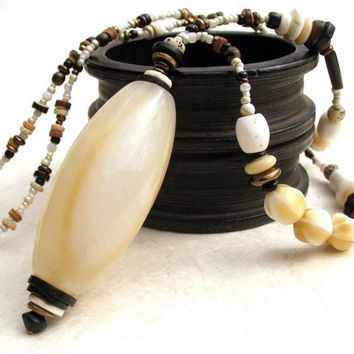 Long Ethnic Necklace Cream  White Agate Pendant by BacaCaraJewelry