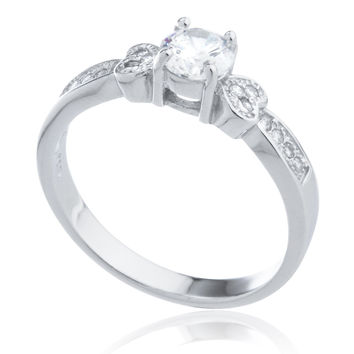 Silver Double Heart and Cubic Zirconia Promise Ring