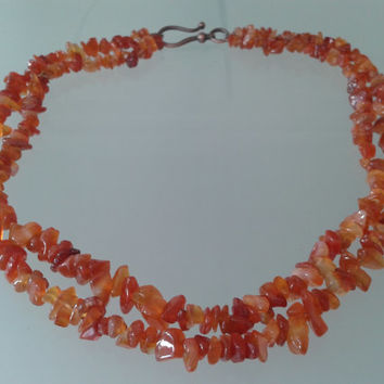 necklace  made of two rows carnelian chips with copper hook