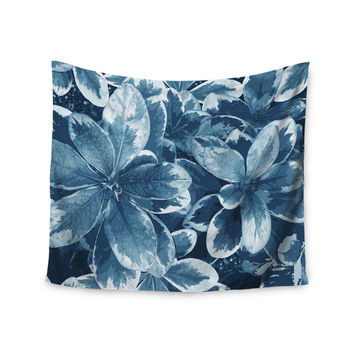 "Julia Grifol ""Leaves"" Blue Floral Wall Tapestry"