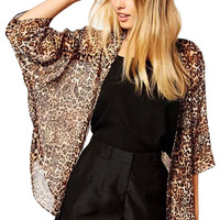 Leopard Print Batwing Sleeves Kimono Cover-up