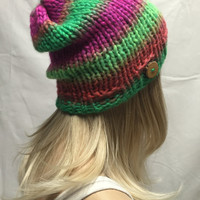 Knit Slouchy Hat Beanie Bright Colorful Striped Lime Green Pink Orange With A Wood Button Warm And Cozy