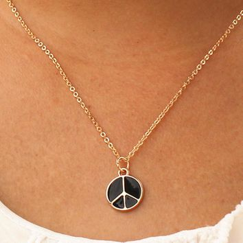 N952 Trendy Tiny Peace Pendant Necklace Women Chain Lady Girl Gifts Bijoux Fashion Jewelry Colar Against War