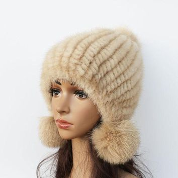 PEAPUNT 2016 New mink hat Ladies fashion Fox fur ball fur hat Mink knit hats Casual mink hat Female Headgear