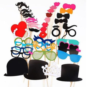44x Photo Booth Props Glasses Crown Mustache On A Stick Wedding Party Decor  l_f (Color: Multicolor) = 1946699652