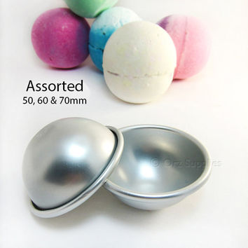 3 Metal Bath Bomb Fizzies Mold Assorted sizes, 50mm 60mm 70mm