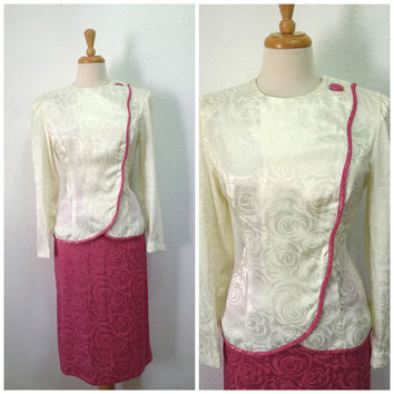 Vintage 1960's Leslie Fay Wiggle Suit Mad Men Iridescent Pink Cream white Floral Brocade Women M