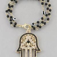Black Hamsa & Evil Eye Crystal Bead Bracelet from P.S. I Love You More Boutique