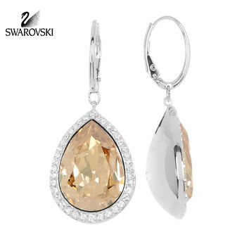Swarovski Golden Shadow Crystal Drop Pierced Earrings DEDUCE Rhodium #5141381