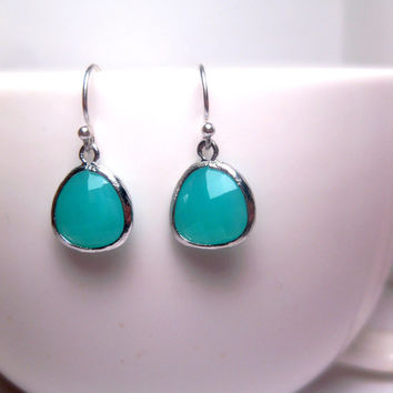 Tropical Blend Tiffany Blue Drop Earrings With Sterling Silver