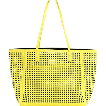 Perforated Double Bag Tote in Yellow