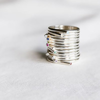 925 Sterling Silver Simple line Stacking Ring detailed with colored Cu