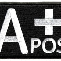 "Embroidered Iron On Patch - A+ Positive Blood Type 3"" Patch"
