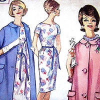 1960s Coat and Dress Pattern Misses size 11 UNCUT Vintage Sewing Pattern Short Sleeve Dress with Coat