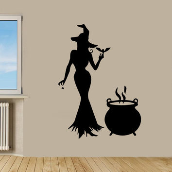 Wall Decals Vinyl Decal Sticker Art Bedroom Decor Halloween Witch Decal Kj973