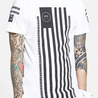 Men's Civil Regime 'Long Flag' Longline Graphic T-Shirt with Zip Detail,