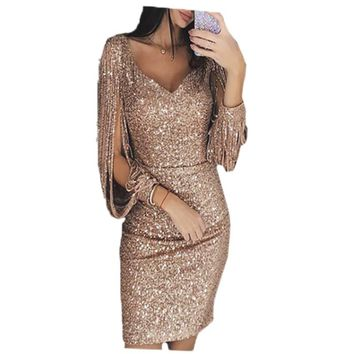 2019 New Tassels Sequin Dress Women Sexy Glitter Party Dress Bodycon Hollow Out Long Sleeve Mini Dresses Vestidos de Festa