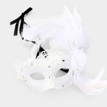 Feather Flower Masquerade Lace Eye Mask