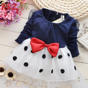 Baby girl dress New 2017 dresses for girls,bebe,newborn,children girls bowknot long-sleeved princess dress baby girl clothes