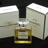 Vintage 1970s Chanel No 5 Extrait Eau de Parfum 1/2 oz Original Boxes Bottle Sealed