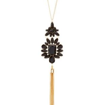 Faceted Stone & Chain Tassel Pendant Necklace