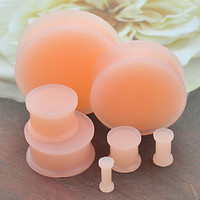 1 Pair Flesh Tone Soft Silicone Flexible Ear Plugs Gauges