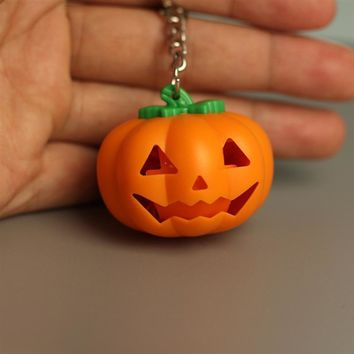 Halloween Pumpkin LED Key Ring Light Up Key Chain Toy Gift with Sound