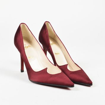"Christian Louboutin Red Satin ""Cleavage"" Pointed Toe Sandals SZ 36"