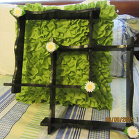 Vintage Up-Cycled Cottage Chic Double Square Wooden Black Shelf