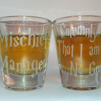 Harry Potter Mischief Managed Glass shot glass set