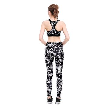 2018 New Women's Work Out Suits Black Skull Printed Sexy Push Up Leggings Two Piece Set Fitness Clothing Tank Top Suits