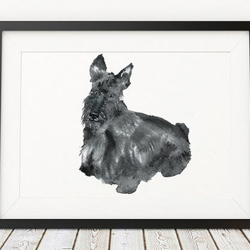 Scottish terrier poster Watercolor dog print Cute nursery decor ACW125