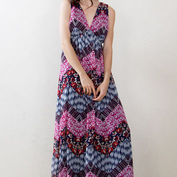Paisley Peasant Print Dress
