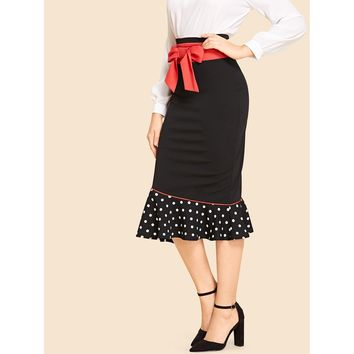 Bow Waist Mermaid Hem Pencil Skirt