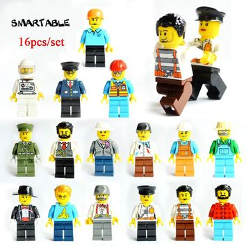 Smartable 16pcs Building Blocks Figures brick DIY toys Compatible Legoing Figures city Police soldier for Christmas Gift 1604B