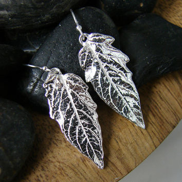 Womens Delicate Silver Dangle Leaf Earring