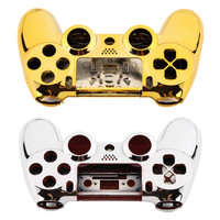 Full Housing Shell Case Skin Cover Button Set with Full Buttons Mod Kit Replacement For Playstation 4 PS4 Controller Gold Sliver