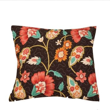 "Set of Two Marigold's Autumn Mustard Yellow & Brown  Bohemian Square Accent Pillow Cushion Cover Pair - 18"" x 18"""