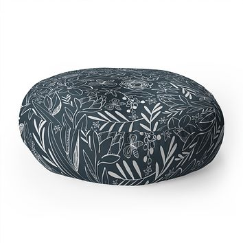 Heather Dutton Botanical Sketchbook Midnight Floor Pillow Round