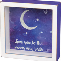 Love You To The Moon & Back - Mini Shadow Box Framed Art - 6-in