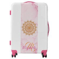 Pink marble with monogram and gold mandala luggage