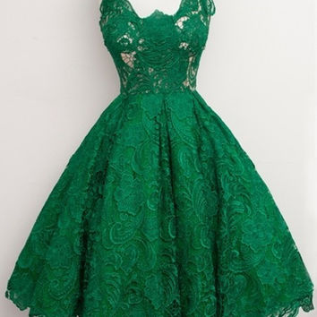 2016 Hot Sell Emerald Green V Neck Sleeveelss Knee Length Cocktail Dress Lace Short Formal Dress Summer Dress