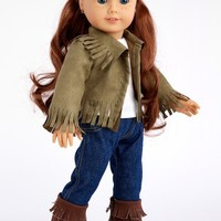 Siege Jacket - 4 piece outfit includes jacket, tank top, jeans and boots - 18 inch American Girl Doll Clothes - (doll not included)