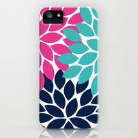 Bold Colorful Hot Pink Turquoise Navy Dahlia Flower Burst Petals iPhone & iPod Case by TRM Design
