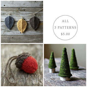 Seasonal Pattern Bundle - Knitting Pattern - Knit Acorn  - Jack Pine Tree - Autumn Leaves - Christmas Ornament - Amigurumi - Waldorf
